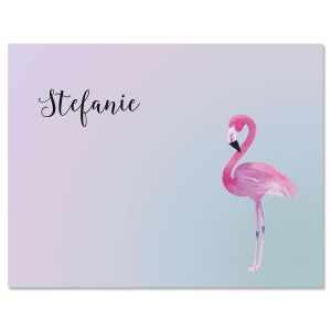 Single Flamingo Custom Note Cards