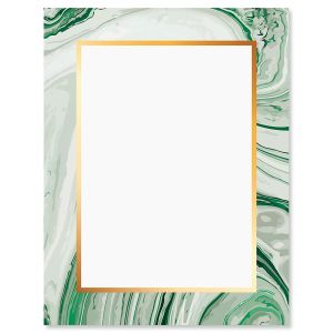Green Marbled Swirl Letter Papers