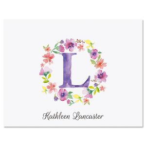 Floral Initials Custom Note Cards