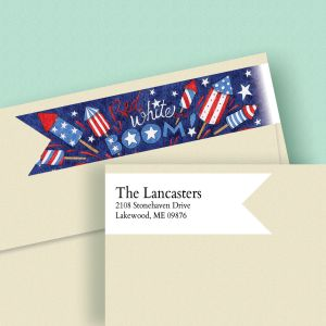 Red White Boom Connect Wrap Diecut Address Labels