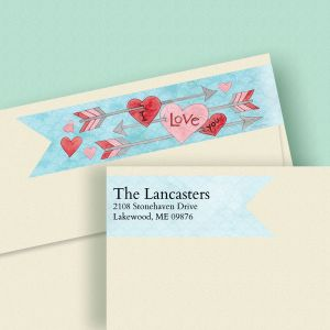 Arrow Hearts Connect Wrap Diecut Address Labels