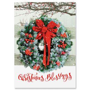 Wreath In Snow Christmas Cards