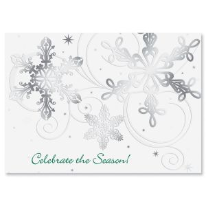 Snow Swirls Foil Christmas Cards