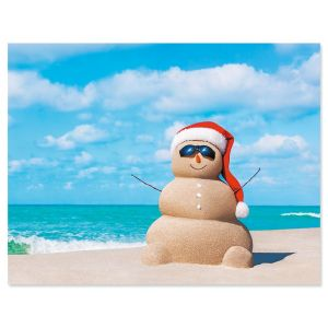 Sandy Snowman Note Card Size Christmas Cards