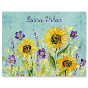 Watercolor Sunflower Custom Note Cards