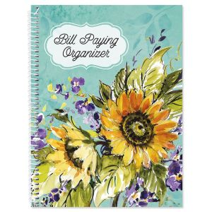 Watercolor Sunflower Bill Paying Organizer