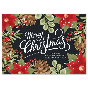 Poinsettia Border Christmas Cards