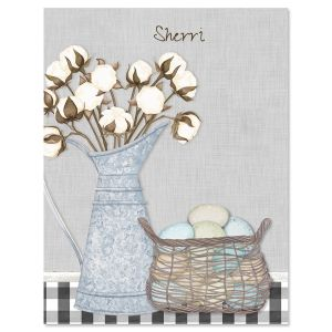 Farmhouse Bolls Custom Note Cards