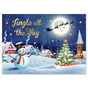 Christmas Night Foil Christmas Cards