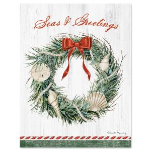Seaside Greetings Note Card Size Christmas Cards