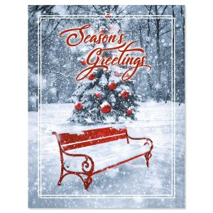 Holiday Bench Note Card Size Christmas Cards
