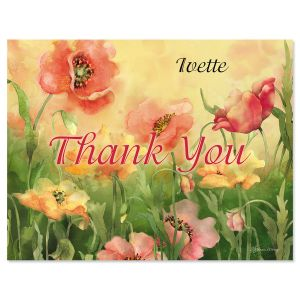 Poppies Custom Thank You Note Cards