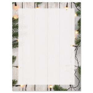 Lights and Pine Christmas Letter Papers