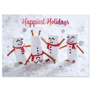 Marshmallow Family Foil Christmas Cards