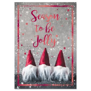 Three Red Gnomes Foil Christmas Cards