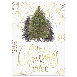 Winter Pine Foil Christmas Cards