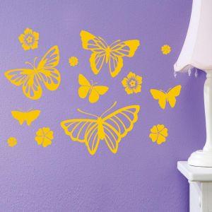 Butterflies and Flowers Vinyl Wall Art