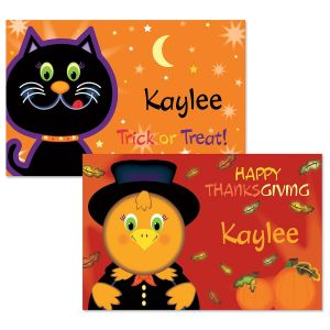 Kitty Personalized Autumn Place Mat