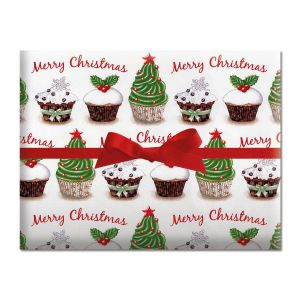 Cupcake Holiday Jumbo Rolled Gift Wrap
