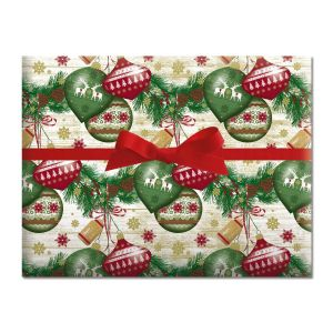 Ornaments on Garland Holiday Jumbo Rolled Gift Wrap