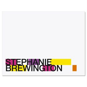 Color Block Personalized  Note Cards