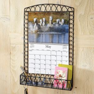 Scrolled Black Wire Metal  Calendar Holder