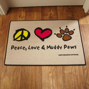Peace, Love & Muddy Paws Doormat
