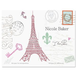 Paris Personalized Note Cards - Set of 24