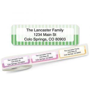 Pinstripes Rolled Return Address Labels  (5 Designs)
