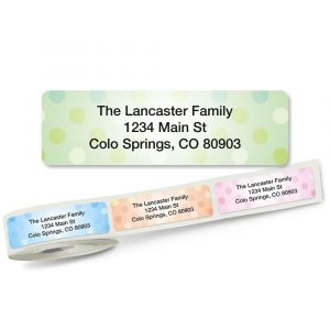 Pastel Dots Rolled Return Address Labels  (5 Designs)