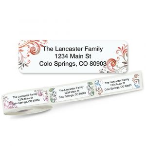 Gray Swirls Rolled Address Labels  (5 Designs)