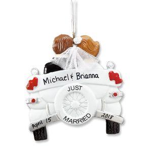 Just Married Custom Christmas Ornament