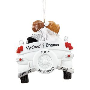 Just Married Custom Ornament