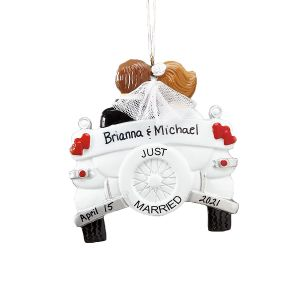Just Married Custom Ornament