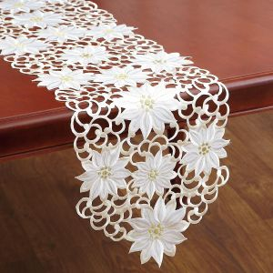 White Poinsettia Cutwork Table Runner
