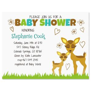 Precious Deer Personalized Invitation