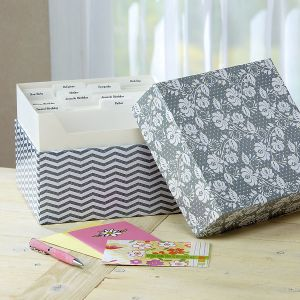 Grey Roses Greeting Card Organizer Box and Labels