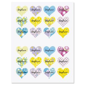 Personalizable Heart Stickers