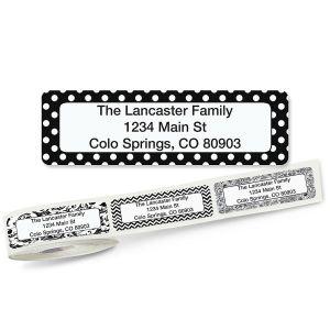 Black and White Rolled Return Address Labels  (5 Designs)
