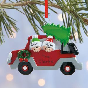 Christmas Tree Caravan Hand-Lettered Resin Ornament