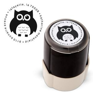 Owl Round Address Stamp