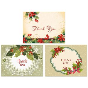 Vintage Christmas Thank You Note Cards