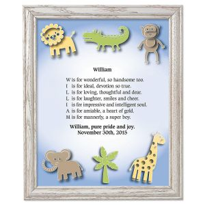 Zoo Animals Framed Name Poem Print