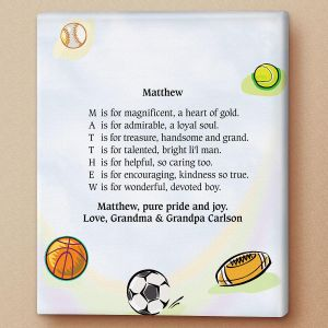Sports Balls Name Poem Canvas Print