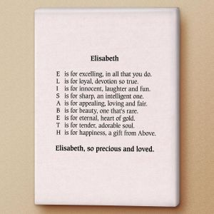 Parchment Pink Name Poem Canvas Print