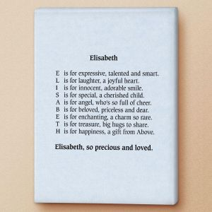 Parchment Blue Name Poem Canvas Print