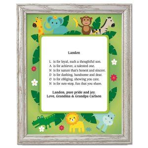 Safari Name Poem Framed Print