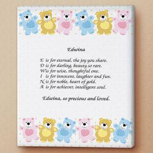 Bear Name Poem Canvas Print