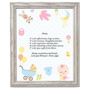 Baby Life Name Poem Framed Print
