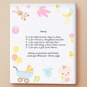 Baby Life Name Poem Canvas Print